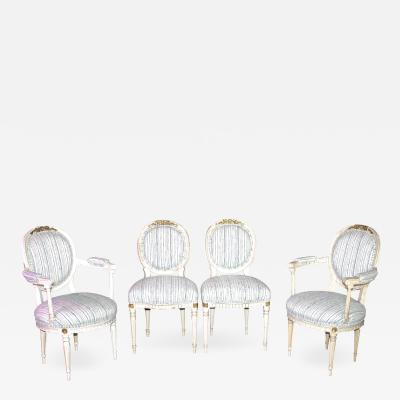 Eighteen Louis XVI Revival Dining Chairs En Peinte