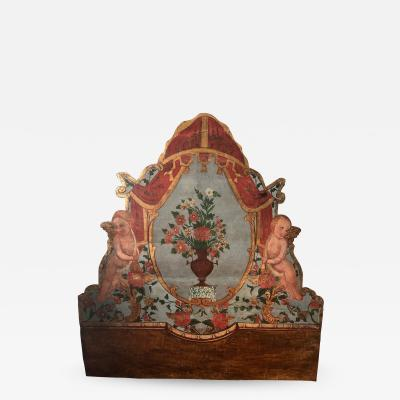 Eighteenth Century painted Catalonia headboard and Posts