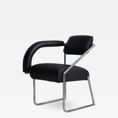 Eileen Gray Eileen Gray Non Conformist Black Leather and Steel Chair