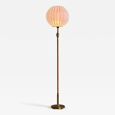 Einar Backstrom Einar B ckstr m brass and leather floor lamp Sweden