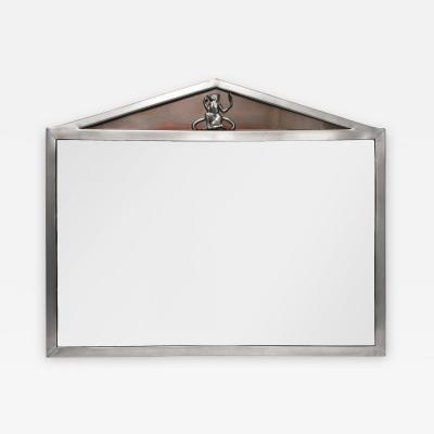 Einar Backstrom Swedish Art Deco Polished Pewter Mirror with Pediment Top by Einar Backstrom