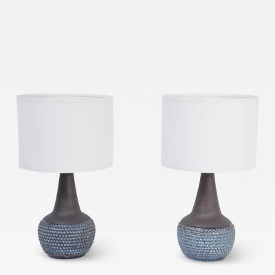 Einar Johansen Pair of Handmade Blue Danish Mid Century Stoneware lamps by Soholm