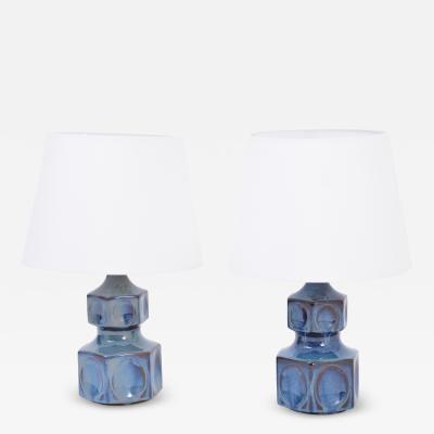 Einar Johansen Pair of blue Danish midcentury table lamps by Einar Johansen for Soholm