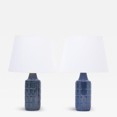 Einar Johansen Pair of blue Mid Century Modern stoneware lamps by Einar Johansen for S holm