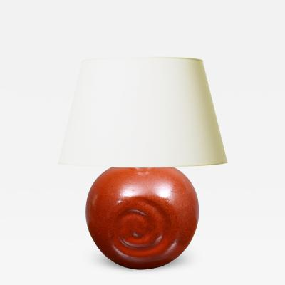 Einar Luterkort Lamp with Deep Carmine Cinnabar Glaze by Einar Luterkort for Ekeby