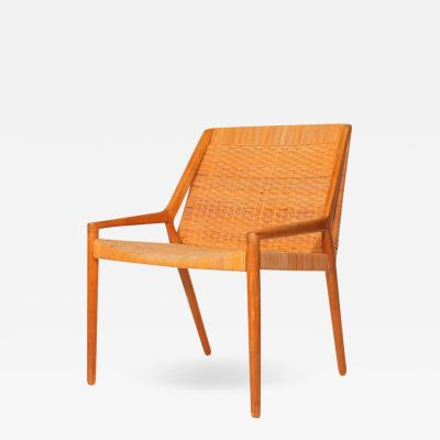 Ejner Larsen Aksel Bender Madsen Oak and Cane Easy Chair by Larsen and Madsen