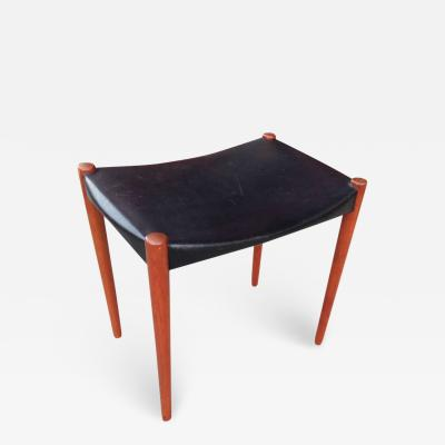 Ejner Larsen Aksel Bender Madsen Teak and Leather Stool by Bender Madsen and Larsen