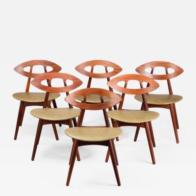 Ejvind A Johansson Set of Six Danish Ejvind A Johansson Eye Chairs