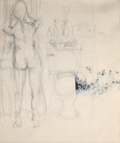 Elaine De Kooning A Nude Woman at a Sink in a Bathroom