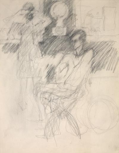 Elaine De Kooning Frank OHara in George Degals Studio Woman Looking in a Mirror