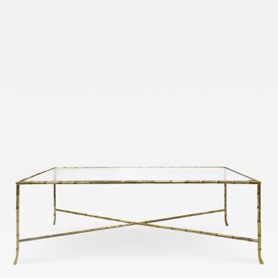 Elegant Coffee Table In Brass With Bamboo Motif 1950s