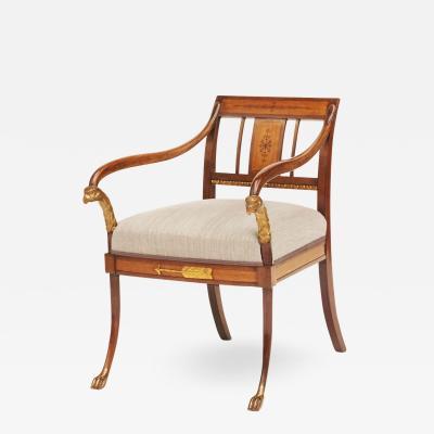 Elegant Danish Empire Armchair circa 1810