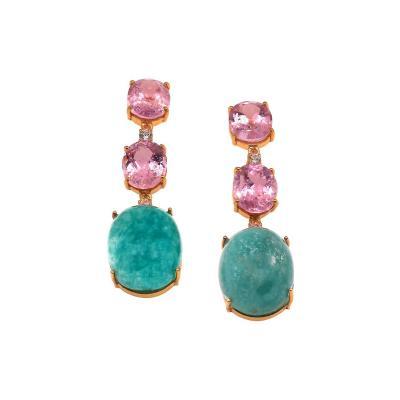 Elegant Evening Earrings of Kunzite and Amazonite from Gemjunky
