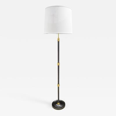 Elegant Floor Lamp in Gunmetal with Brass Accents 1980s