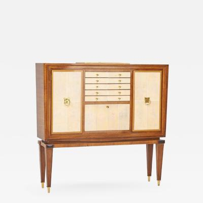 Elegant French Art Deco Walnut and Shagreen Cabinet