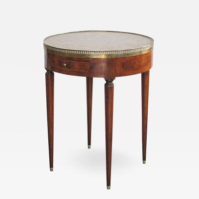 Elegant French Directoire Circular Bouillotte Table with Fossilized Stone Top