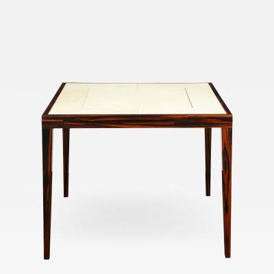 Elegant Game Table In Macassar Ebony With Lacquered Goatskin Top 1980s