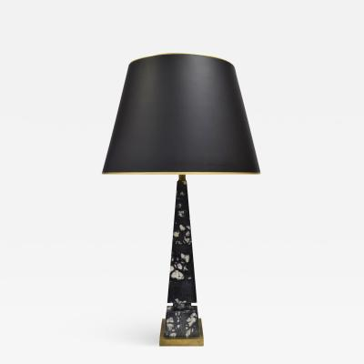 Elegant Obelisk Table Lamp In Black And White Marble 1940s