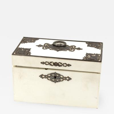 Elegant Painted English Victorian Period Tea Caddy With Elaborate Metalwork