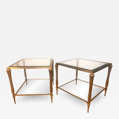 Elegant Pair of Brass Two Tier Side Tables