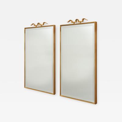 Elegant Pair of Bronze Mirrors in the style of Gio Ponti 1950s