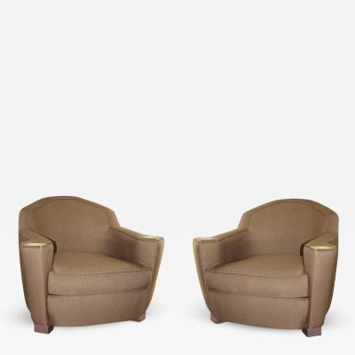 Elegant Pair of Chairs Linen and Brass Inspired by Jules Leleu