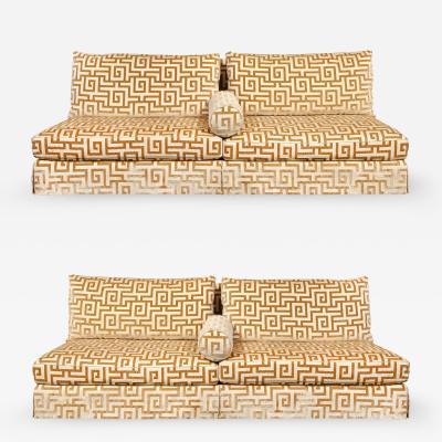 Elegant Pair of Custom Armless Sofas in Greek Key Velvet 1990s