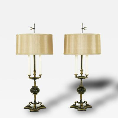 Elegant Pair of Empire Table Lamps in Black Lacquer and Gold Leaf