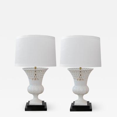 Elegant Pair of Italian White Glazed Basket Weave Urn Form Lamps
