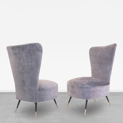 Elegant Pair of Light Blue Slipper Chairs Italy 1960s