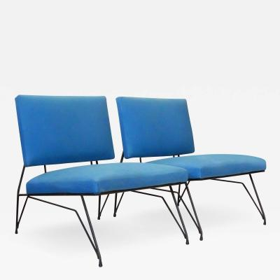 Elegant Pair of Modernist Armchairs I Lush Blue Upholstery