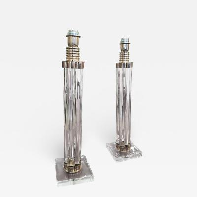 Elegant Pair of crystal and Nickel Plated Metal Table Lamps