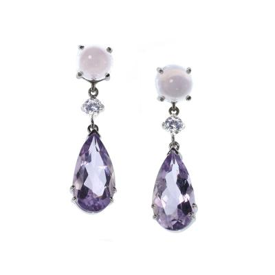 Elegant Pink and Purple Gemjunky Earrings