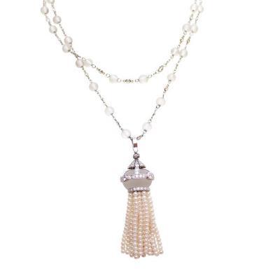 Elegant Rock Crystal Diamond Pearl Platinum Tassel Necklace