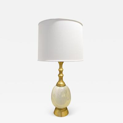 Elegant Table Lamp With Opaline Glass 1950s Signed