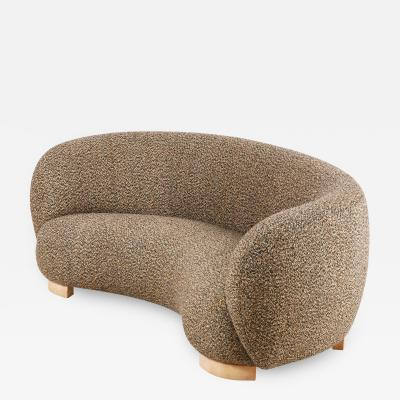 Elegant Three Seat Danish Curved Sofa from 1940s New Upholstery