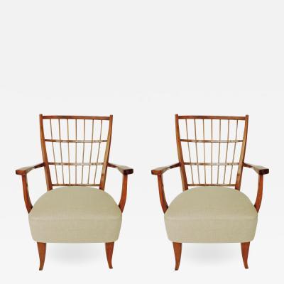 Elegant pair of Italian 1940s armchairs
