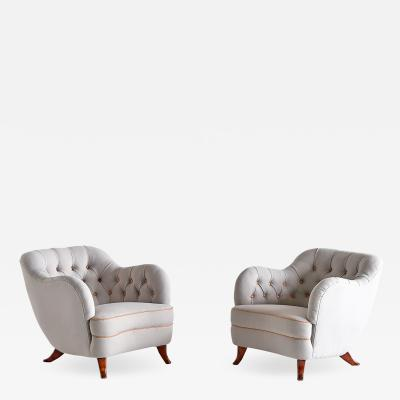 Elias Svedberg Pair of Elias Svedberg Armchairs for Nordiska Kompaniet Sweden 1940s