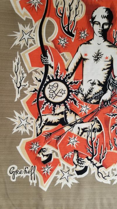 Elie Grekoff Le Sagitaire Zodiac Signs Themed Tapestry by Elie Grekoff France 1960s