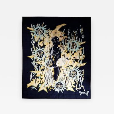 Elie Grekoff Verseau Zodiac Signs Themed Tapestry by Elie Grekoff France 1960s