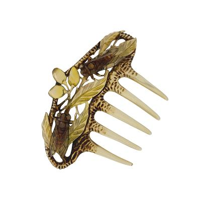 Elizabeth Bont Art Nouveau Hair Comb featuring Carved Horn by Elizabeth Bont