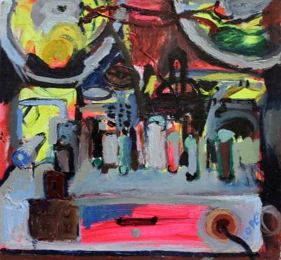 Elizabeth Cope Back of Bush Radio Modern Oil Painting by Irish Artist Elizabeth Cope