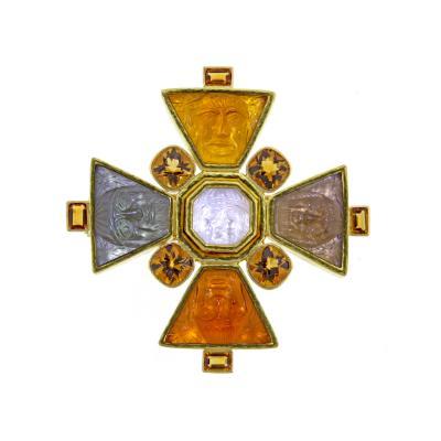Elizabeth Locke Elizabeth Locke Bomarzo Large Citrine Gold Maltese Cross Brooch Pendant