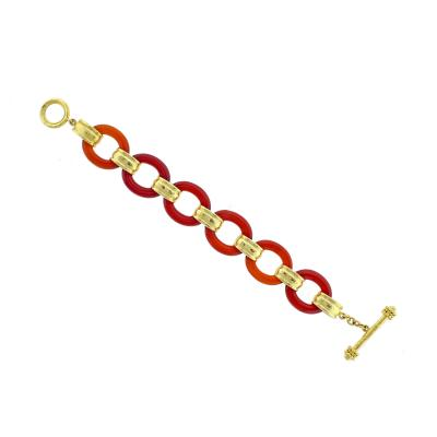 Elizabeth Locke Elizabeth Locke Carnelian Gold Toggle Bracelet