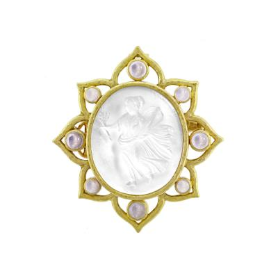Elizabeth Locke Elizabeth Locke Carved Glass Cameo Bohemian Brooch or Pendant