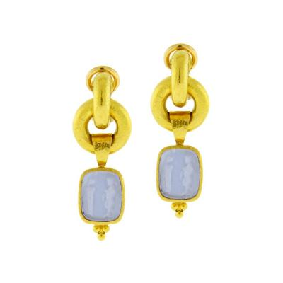 Elizabeth Locke Elizabeth Locke Cerulean Venetian Glass Intaglio God and Pillar Earrings
