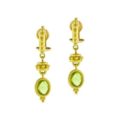 Elizabeth Locke Elizabeth Locke Curved Granulated Hoop Earrings with Peridot Drop