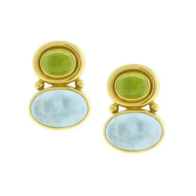 Elizabeth Locke Elizabeth Locke Earrings with Peridot and Aqua Venetian Glass
