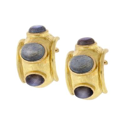 Elizabeth Locke Elizabeth Locke Labradorite Gold Puffy Bezel Earrings