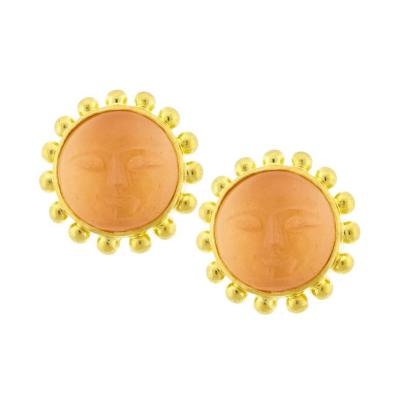 Elizabeth Locke Elizabeth Locke Moonstone Gold Man in the Moon Earring